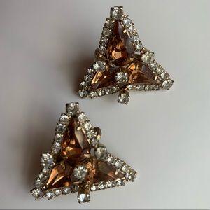 Vintage Topaz/Citrine Crystal Clip On Earrings